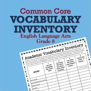 Common Core Vocabulary Inventory ELA Grade 8 (Pre- and Pos