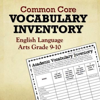 Common Core Vocabulary Inventory ELA Grades 9-10 (Pre- and