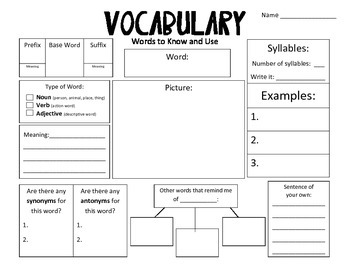 Common Core Vocabulary Journals