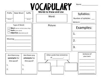 Common Core Vocabulary Journals