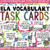 ELA Vocabulary Practice Task Cards: ELA Vocabulary Game with QR Codes