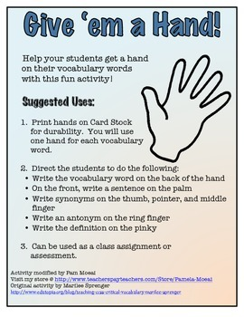 Common Core Vocabulary Strategy:  Give 'em a Hand!