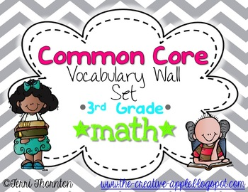 Common Core Vocabulary Wall Set: 3rd Grade Math {GRAY CHEVRON}