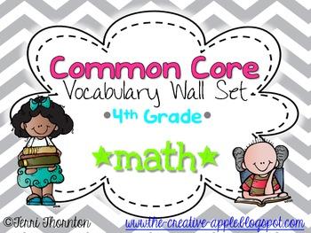 Common Core Vocabulary Wall Set: 4th Grade Math {GRAY CHEVRON}