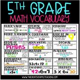 Common Core Math Vocabulary Word Wall: 5th Grade