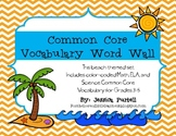 Common Core Vocabulary Word Wall Grades 3-5: ELA, Math, & Science (Beach Theme)