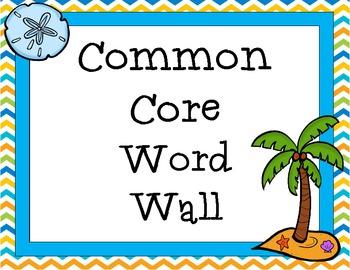 Common Core Vocabulary Word Wall Grades 3-5: ELA, Math, & Science (Beach Theme)