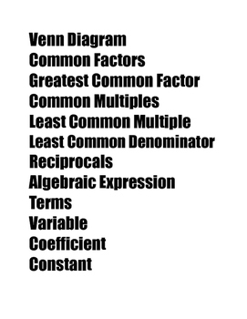 Common Core Vocabulary (word wall) 6th Grade