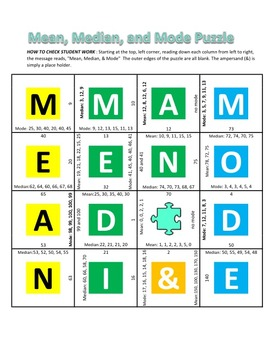 Common Core - Mean, Median, and Mode Puzzle - Math Fun!