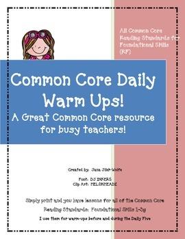 Common Core Warm ups (RF1-3g)