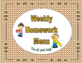 Common Core Weekly Homework Menu's - Apple Theme
