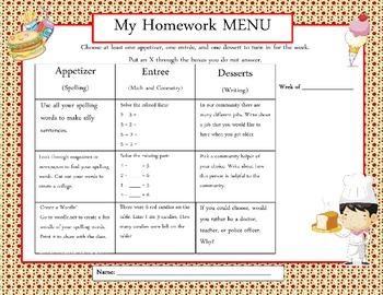 Common Core Weekly Homework Menu's - Apple Theme
