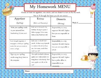 Common Core: Weekly Homework Menu's (PB & J Theme)