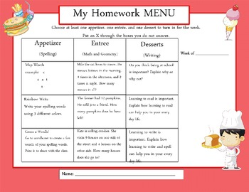 Common Core: Weekly Homework Menu's (Plaid Theme)
