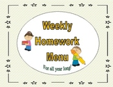 Common Core: Weekly Homework Menu's (Star Theme)