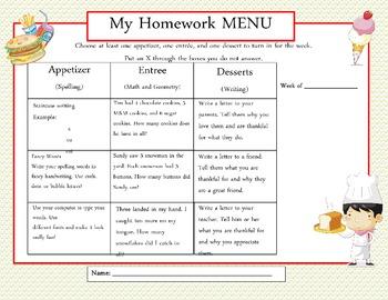 Common Core: Weekly Homework Menu's (Star Theme)