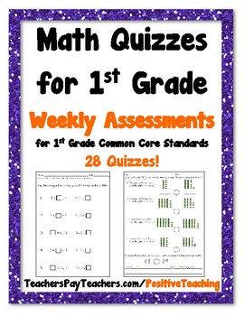 Weekly Math Quizzes - Standards based Quiz - 1st Grade by ...
