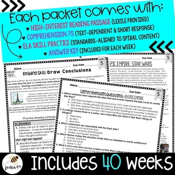 Common Core Weekly Reading Homework: 3rd-4th-5th Grade {Complete Set: 40 Texts}