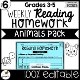 Common Core Weekly Reading Homework (Grades 3-5) - Animal Pack