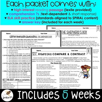 Common Core Weekly Reading Homework (Grades 3-5) - Fables, Folktales & Myths