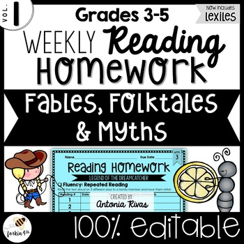 Common Core Weekly Reading Homework (Grades... by forkin4th ...