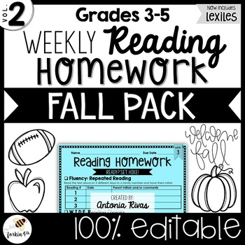 Common Core Weekly Reading Homework (Grades 3-5) - Fall Pack