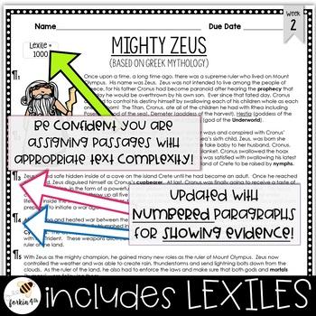 Common Core Weekly Reading Homework (Grades 3-5) - Greek Mythology