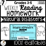 Common Core Weekly Reading Homework (Grades 3-5) - Natural Disasters