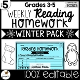 Common Core Weekly Reading Homework (Grades 3-5) - Winter Pack