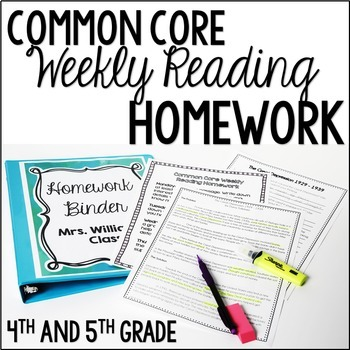 Reading Homework (4th and 5th Grade Reading Review BUNDLE : 36 Texts)