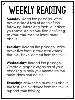 Common Core Weekly Reading Homework Review {Set 1: Informational Text}