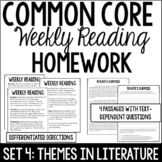 Common Core Weekly Reading Homework Review {Set 4: Themes in Literature}