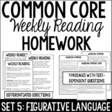 Common Core Weekly Reading Homework Review {Set 5: Figurative Language}