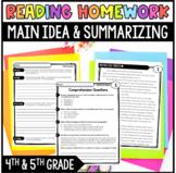 Common Core Weekly Reading Homework Review {Set 6: Main Idea and Summarizing}