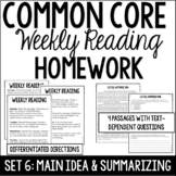 Common Core Weekly Reading Homework Review {Set 6: Main Idea and Summarizing}