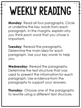 Common Core Weekly Reading Homework Review {Set 8: Text Structures}