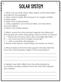 Common Core Weekly Reading Homework {Set 7: Making Inferences and Quoting Text}