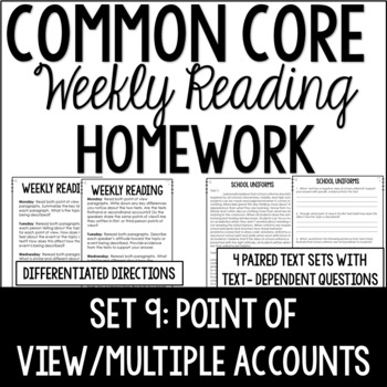 Common Core Weekly Reading Homework {Set 9: Point of View and Multiple Accounts}