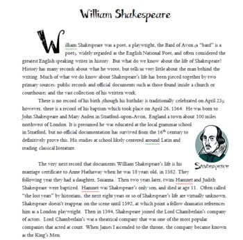 Common Core & William Shakespeare: Poetry and Reading Informational Text