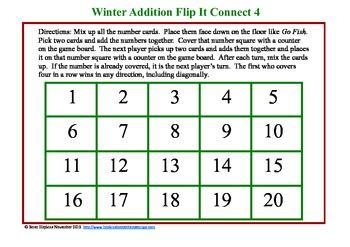 Common Core Winter Addition Flip It Connect 4