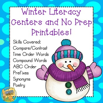 Winter Literacy Centers - ABC Order, Synonyms, Prefixes, Compare/Contrast Gr 1-3