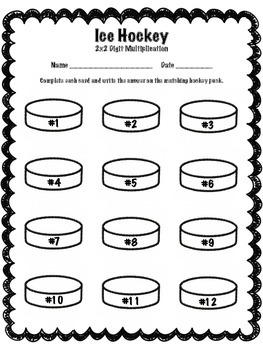 Winter Sports Hockey 2x2 Digit Multiplication Math Center (Common Core)