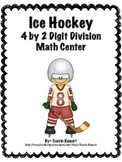 Winter Sports Hockey 4 by 2 Digit Division Math Center (Co