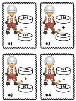 Winter Sports Hockey Addition and Subtraction Math Center 2 (Common Core)