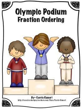 Winter Sports Podium Fraction Ordering Math Center (Common Core)