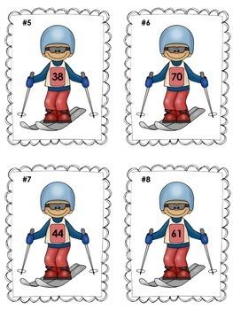 Winter Sports Skiing Ten More Ten Less Math Center (Common Core)