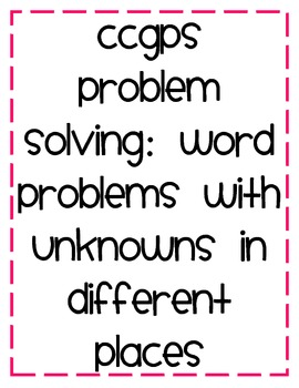 Common Core Word Problem Cards with Unknowns