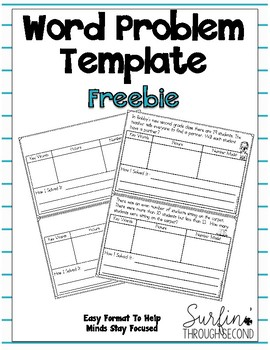 Common Core Word Problem Template Freebie