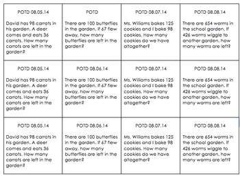 Common Core Word Problem of the Day: Weeks 1 - 9