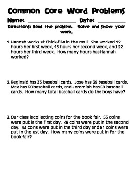 Common Core Word Problems: Adding up to Four 2-Digit Numbers